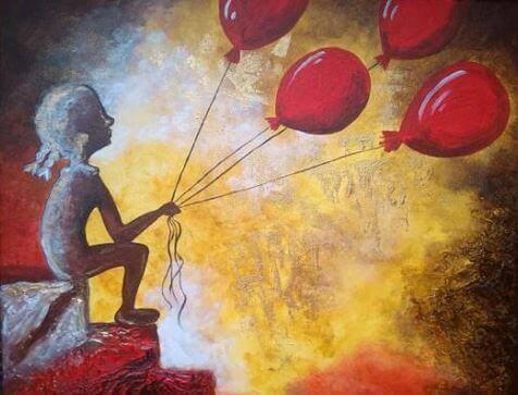 Pige med røde balloner