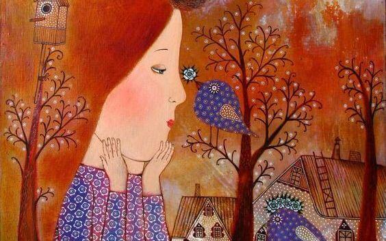 Pige sammen med fugl