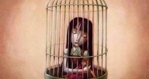 Pige i bur symboliserer følelsesmæssig mishandling