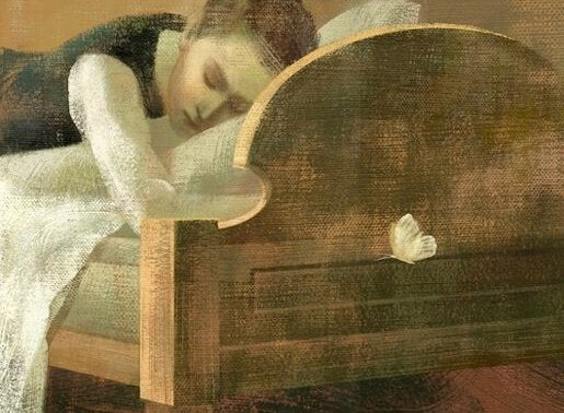 Pige i seng sørger over følelsesmæssige sår