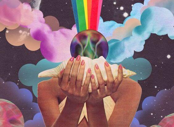Regnbue fra kvinde med konkylie i hænderne
