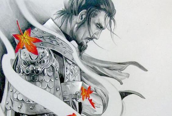 Samurai med orange blade