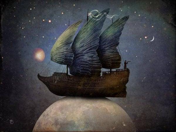 Skib foran nattehimmel ovenpå jord