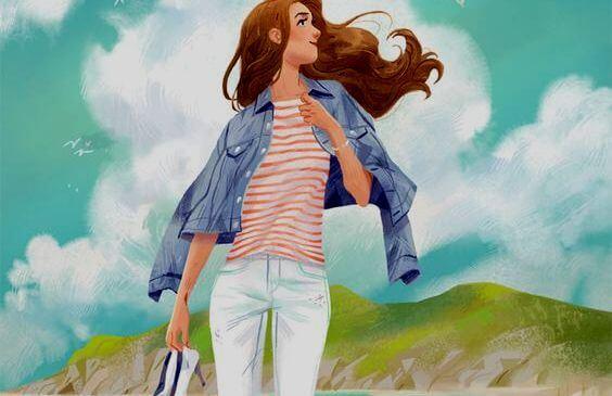 Kvinde går på eng med sko i hænderne og ønsker at være mere menneskelig