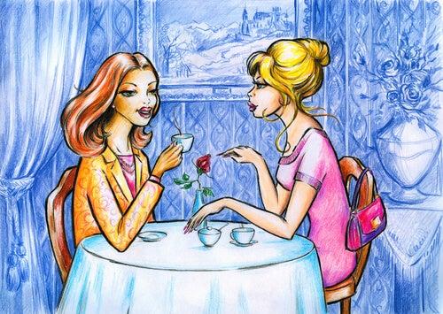 To veninder sidder og snakker