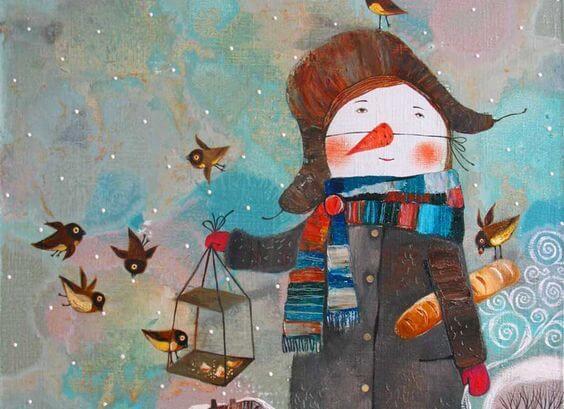 Snemand holder hus til fugle og forstår, hvordan man skal leve sammen