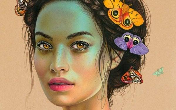 Kvinde med sommerfugle i håret lever uden frygt