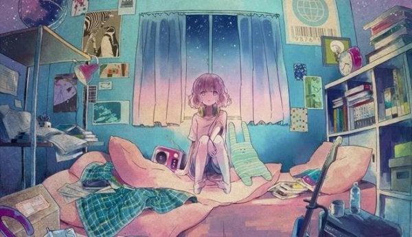 Pige sidder i sit soveværelse