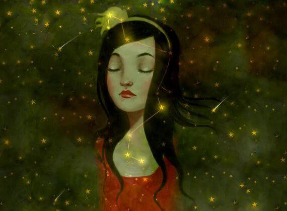 Pige med stjerner omkring sig