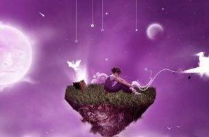 Person på svævende ø udlever sine drømme