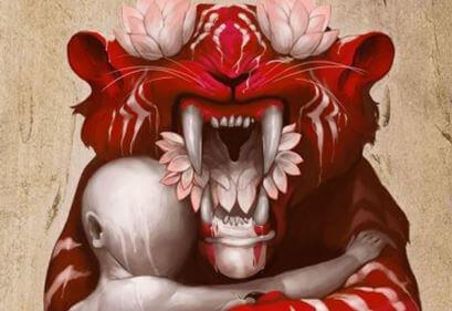 Tiger med dukke symboliserer følelsesmæssigt rovdyr