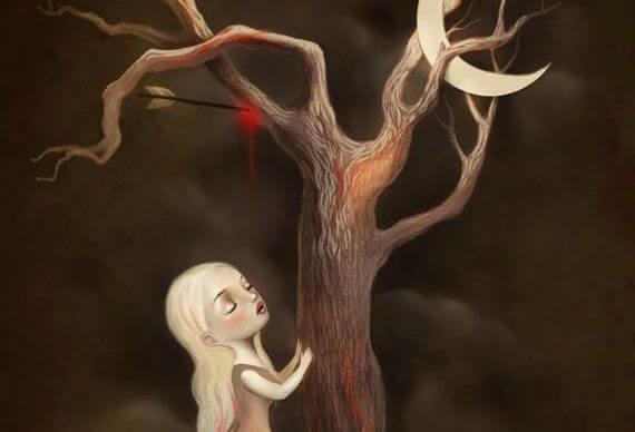 Pil i træ med lille pige under