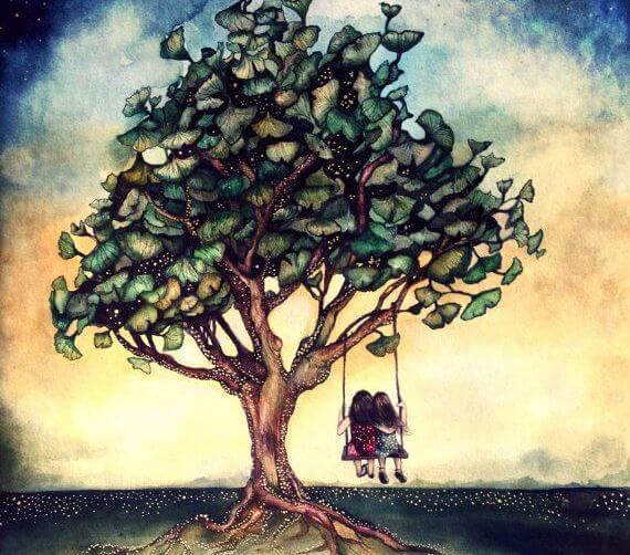 To personer sidder på gynge i træ