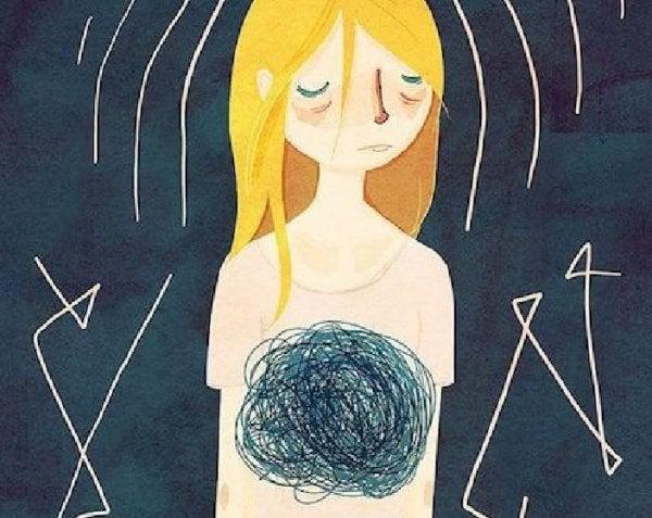 Trist pige med angst har krusseduller i brystet