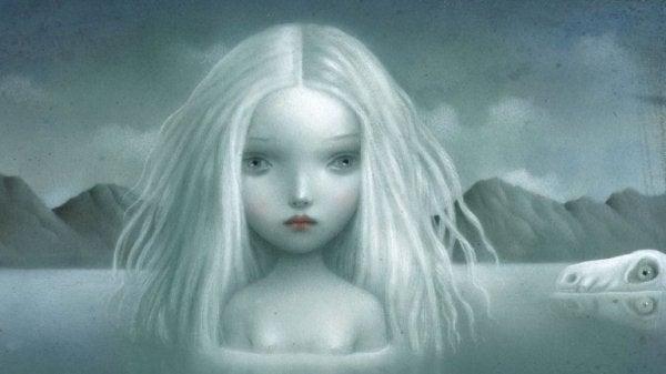Trist, hvid pige vil ikke føle vrede