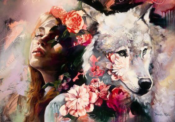 Kvinde med ulv viser kampen om at være udholdende for at få succes