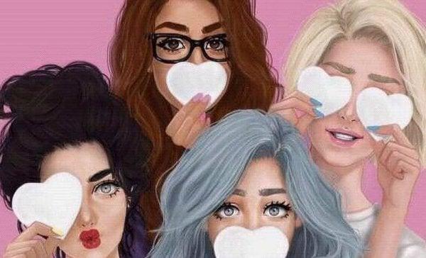 Venner har hjerter for mund og øjne som symbol for at acceptere smerte