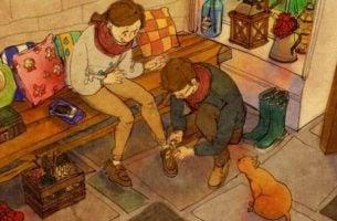 Mand giver kæreste sko på og handler med sympati