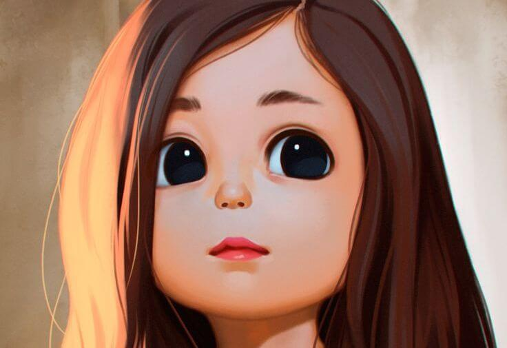 Pige med store sorte øjne