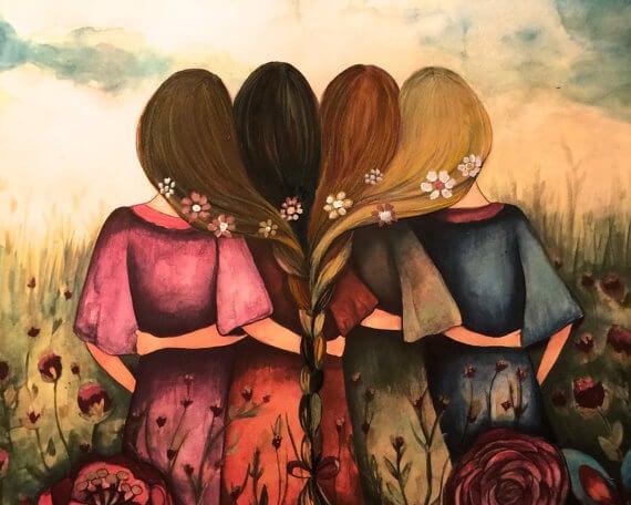 Fire veninger sidder sammen med håret flettet sammen