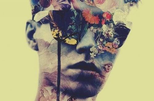 Mand med blomster foran ansigtet har intimiderende personlighed
