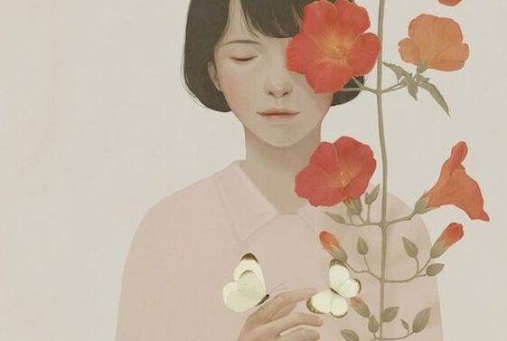 Gode mennesker sår godhed, som denne kvinde der sår en blomst