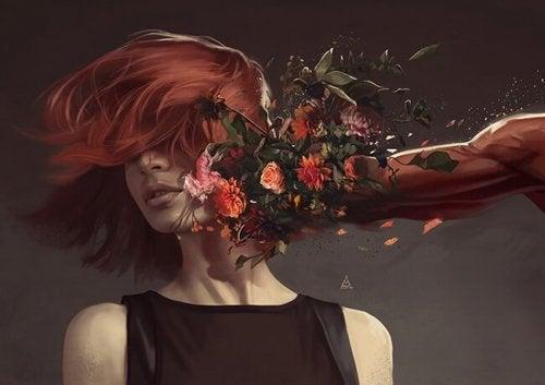 Kvinde bliver slået i hovedet af knytnæve dækket af blomster