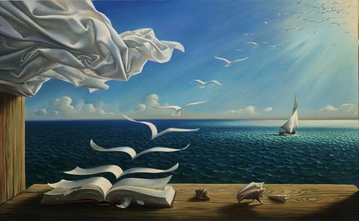 Sider i bog flyver væk mod havet