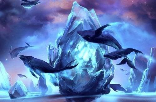 Delfiner hopper rundt foran isbjerg