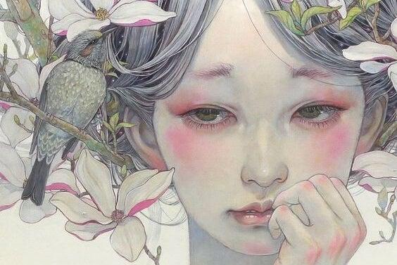 Trist pige med blomster i håret viser dependent personlighedsforstyrrelse