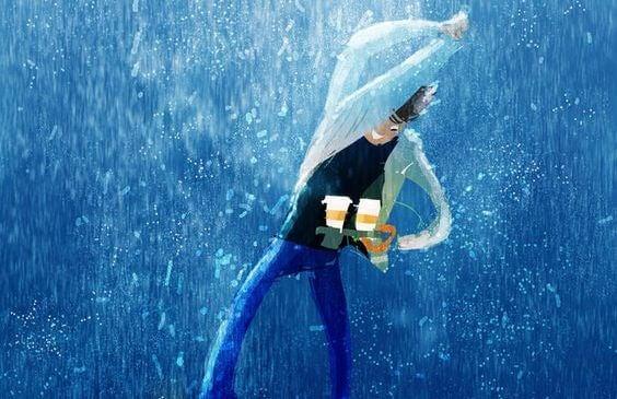 """Mand i regn med to kaffekopper vil hen til sin kæreste og tænker """"Bare at se dig er nok til at gøre mig lykkelig"""""""