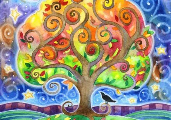 Farverigt træ