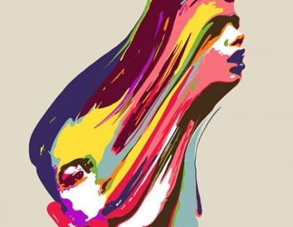 Forvredet farverigt ansigt