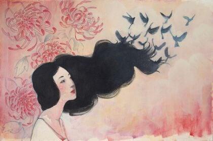Fugle flyver fra kvindes lange hår, som når man anerkender sin historie og giver slip på den
