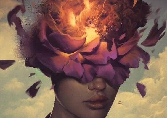 Person med blomster for øjnene og ild i hovedet symboliserer giftige vaner