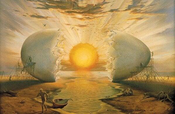 Kæmpe æg med sol som blommen