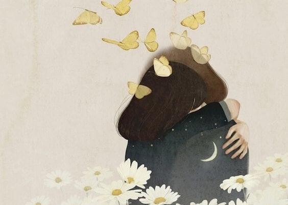 Par krammer bag ved sommerfugle og blomster
