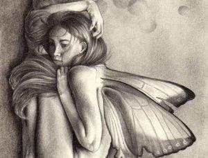 Tegning af kvinde med sommerfuglevinger