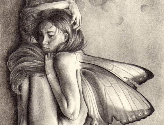 Drawing of woman with butterfly wings
