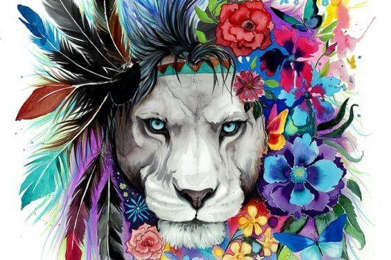 Løve med blomster i manken har et blik, der er præget af narcissisme