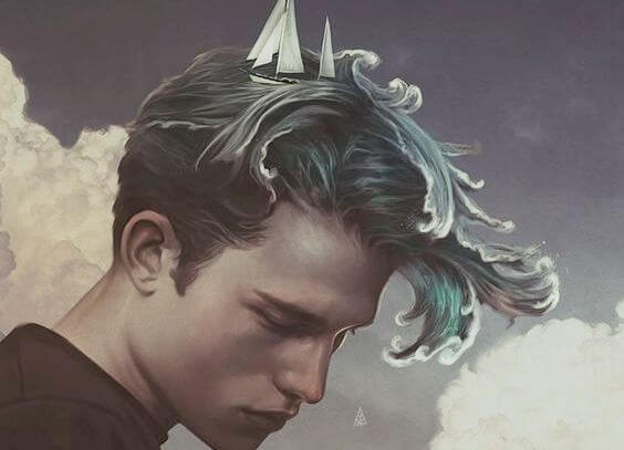 Mand med hav som hår, hvor både sejler i