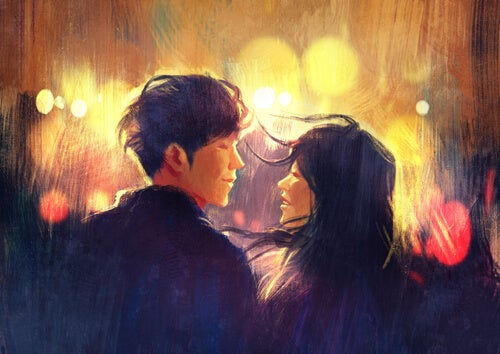 Par kigger på hinanden og deler intimitet