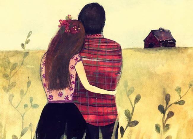 Par omfavner hinanden og ser ud på mark