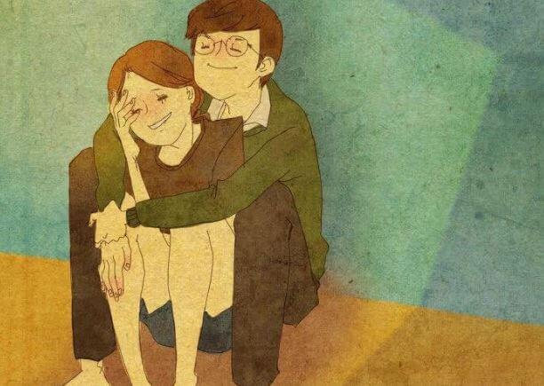 Par omfavner hinanden og smiler