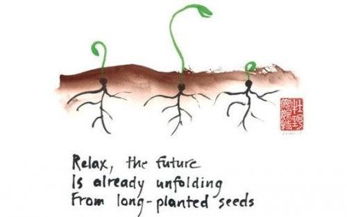 Planter med rødder og tekst symboliserer haiku