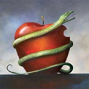 Slange snor sig om æble