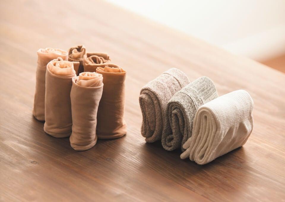 Sammenrullede sokker