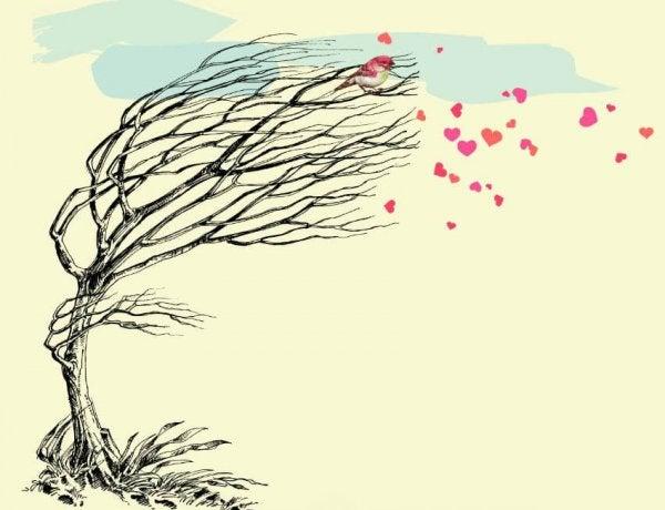 Hjerter blæser af et træ