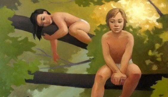 To børn i et træ