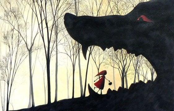 Den lille rødhætte bliver spist af ulven